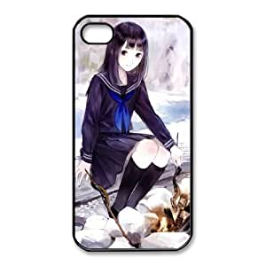 HD exquisite image for iPhone 4 4s Cell Phone Case Black schoolgirl at the bonfire Popular Anime image WUP8098679