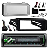 Pioneer Bluetooth Radio USB AUX CD Player Receiver W/Cover - Bundle with Install Dash Kit + Handle Bar Control + Enrock Antenna for 98 2013 Harley Touring Flht Flhx Flhtc Motorcycle Bike