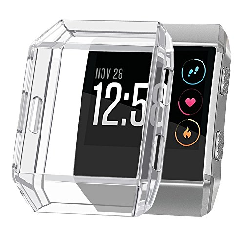 OenFoto Compatible Fitbit Ionic Cover Case, TPU Soft Accessory Protective Case Frame Cover Shell Fitbit Ionic Smart Fitness Watch,Crystal Clear
