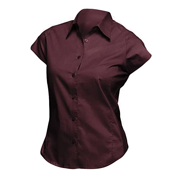 ac36da71451 SOLS Womens Ladies Excess Short Sleeve Fitted Work Shirt (XS) (Medium  Burgundy