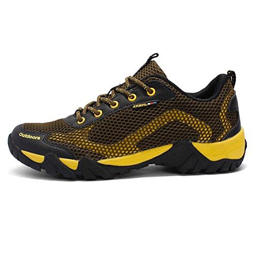 Hommes Respirant Chaussures Léger Antidérapant Lace Up Sport De Plein Air Décontracté En Cours De Randonnée Randonnée Sneaker Marron