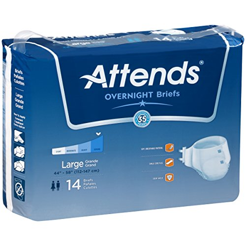Attends Highly Absorbent Overnight Briefs for Adult Incontinence Care, Large, Unisex ,  14 Count (Pack of 2) Attends Adult Diapers