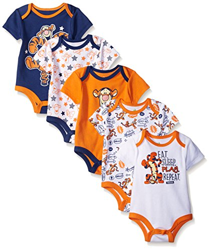 Disney Baby Boys' Tigger 5 Pack Bodysuits, Multi/Orange, 9-12 Months (Baby Tigger)