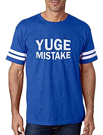 Tstars - Yuge Mistake Funny Political Protest Anti Trump Football Jersey T-Shirt Small Blue/White