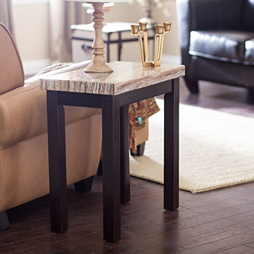 Contemporary Espresso Caramel Faux Marble Living Room End Table Furniture Chair Side Table (Marble Espresso Top)