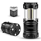 TANSOREN 2 Pack LED Camping Lantern, COB Ultra Bright Collapsible with 6 AA Batteries, Magnetic Base, Hanging Hook for Emergency, Hurricane, Hiking, Outage (2-B)