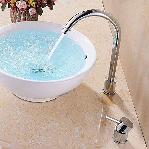 YASE-king バスルームのシンクは、スロット付き浴室の洗面台のシンクホットコールドタップミキサー盆地全銅ダブルホール盆地の蛇口ホットとコールド回転可能な上記カウンター盆地洗面台のシンクの蛇口スプリットタイプをタップ