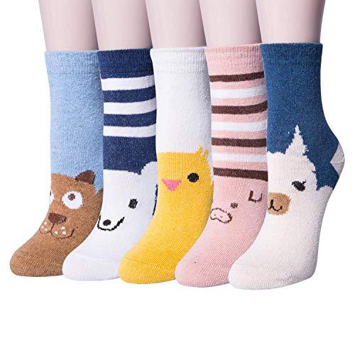 (5 Pairs Womens Vintage Style Thick Knit Warm Wool Winter Crew Socks)