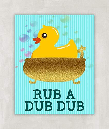 Kids Bathroom Wall Art - Rubber Ducky Rub a Dub Dub - 8x10 (Rubber Ducky Wall)