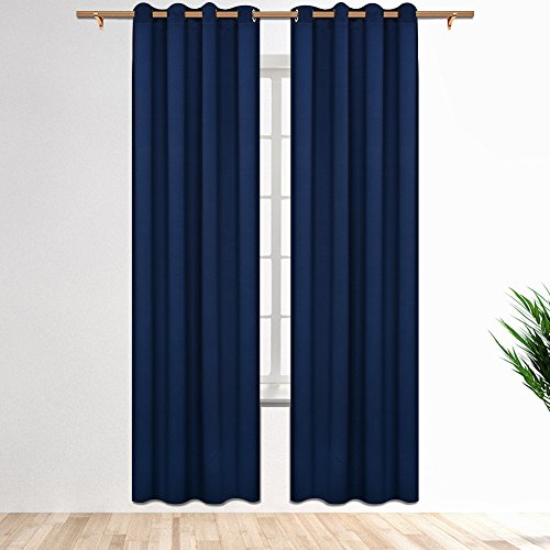 SmilingHome Blackout Curtain/Drape with Solid Thermal Insulated Grommet-52x95 Inch(Set of Two Panels, Blue)
