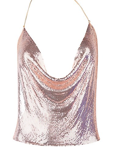 Women's Sexy V-neck Halter Metal Top Blouses (Rose Gold, plus size fit - Metal Top Mesh