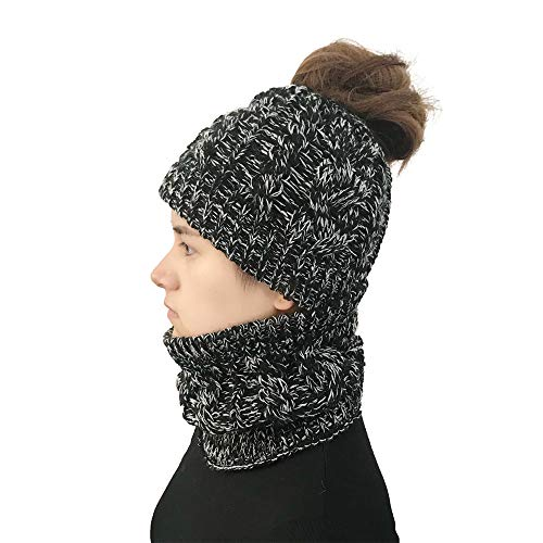 - Egmy Women Autumn Winter Outdoor Warm Hats Crochet Knit Holey Beanie Cap (Deep Gray)