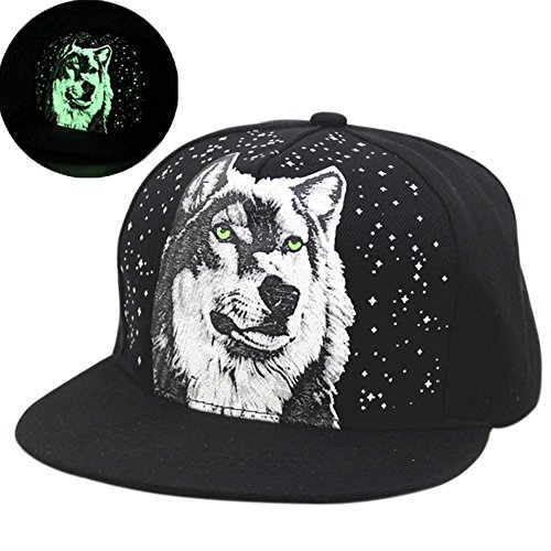 [Walant Light Unisex Adjustable Snapback Baseball Hat Cap Hippie Hiphop Wolf] (Wolf Head Hat)