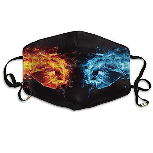 YUIOP Fire Ice Fists Fight Printed Mask Neutral Mask for Men and Women Polyester Dust-Proof Breathable - Mask Ice Fire And