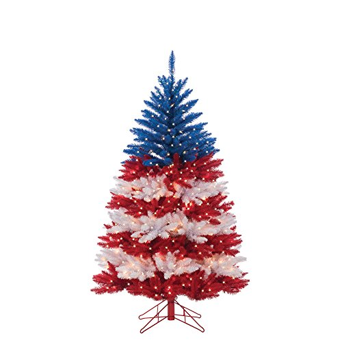 Patriotic Christmas Tree (Sterling 6120-50RWB 5ft. Patriotic American Tree Home Decor, 20InL x 20InW x 64InH,)