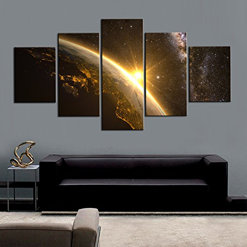 DVQ ART- Framed Canvas Wall Art Painting Abstract Earth Sun and Milky Way Stretch on Canvas Modern Earth Print Picture Ready to Hang for Home Decor 5 Pcs (30cmx40cmx2pcs,30cmx60cmx2pcs,30cmx80cmx1pcs)