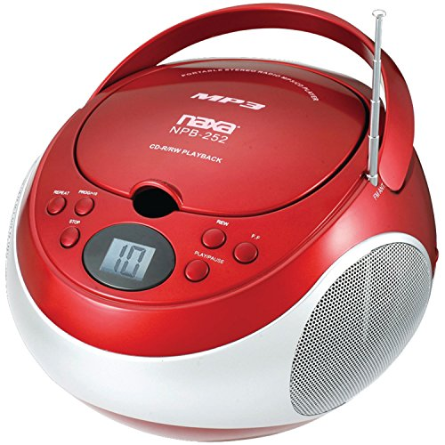 NAXA Electronics Portable MP3/CD Player with AM/FM Stereo Radio (Red)