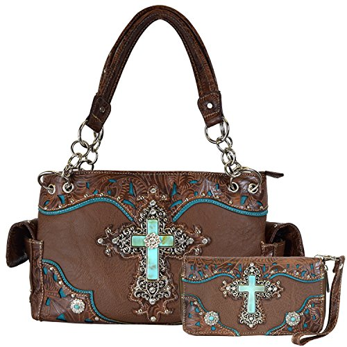 Western Cowgirl Retro Rhinestone Turquoise Tooled Embroidery Cross Bible Pack Shoulder Bag Wallet Set (Brown) (Rhinestone Purse And Wallet Set)