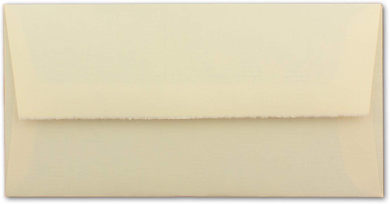 Wei/ß halbmatt hochwertige Brief-Kuverts Original Zerkall-B/ütten 11 x 22 cm echtes B/ütten-Papier 25 St/ück DIN Lang Vintage gef/ütterte Brief-Umschl/äge