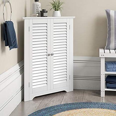 Aspect Odense Bathroom Corner Storage Cabinet White 66 5x47x79 5cm Tall Cupboards