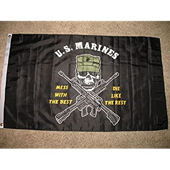 U.S Marines Special Forces Mess with the Best Die like Rest 3x5 Flag Knitted