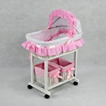 Regal Doll Carriages P187L Julia Wicker Doll Bed Cot Crib with 2 Tidies