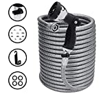 Morvat 25 Foot Stainless Steel Garden Hose with Shut-Off Valve, Heavy Duty Metal Water Hose, Resistant to Tangles and Punctures, Garden Hose 25 FT Includes: Hose Spray Nozzle + Metal Hose Hanger