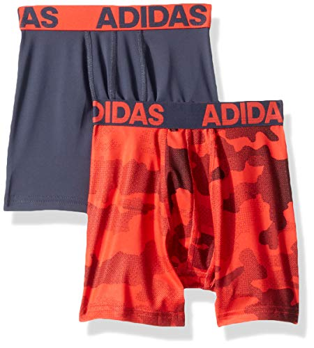 adidas Boys / Youth  Sport Performance Climalite Boxer Brief Underwear (2-Pack), camo/hi/Res red/urban sky, Small ()