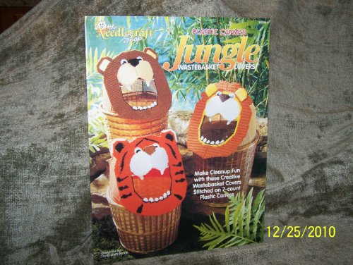 Plastic Canvas JUNGLE Wastebasket Covers Booklet No. 933361(THE NEEDLECRAFT SHOP) - Jungle Wastebasket