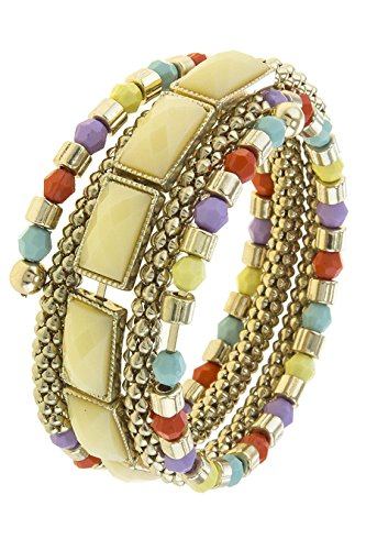 Diy Fashion Designer Costume (TRENDY FASHION JEWELRY FAUCETED FAUX STONE ACCENT SPRING WIRE WRAP BRACELET BY FASHION DESTINATION | (Multi))
