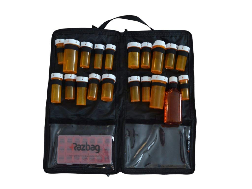 Portable, Lockable, Prescription medication bag, holds 20 various medicine bottles or use for vitamins & supplements, with 3 pockets. Great for travel. With Free 7 day Pillbox organizer by Razbag. by Razbag