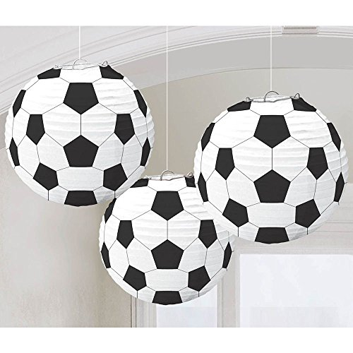 Amscan Soccer 9 1/234; Paper Lantern Decorations (3 Pack) - Party Supplies