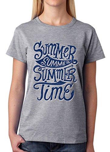 T Grigio Summer Da Donna Large Con Time Shirt Disegno PwO8n0k
