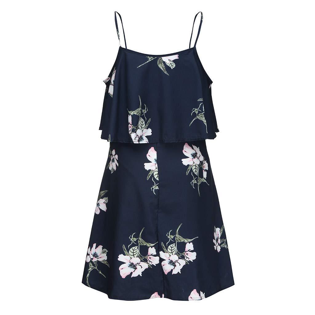 Luonita Womens Maternity Spaghetti Strap Dress Floral Printing Ruffle High Waist Pregnancy Sundress