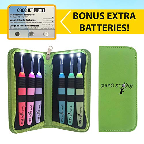 Lighted Crochet Hooks and Case with Replacement Batteries - LED Lite Hooks - Ergonomic Soft Grip Handles & Organizer. Color Coded Set of 6 Hooks for Arthritic Hands - Size 4mm to 6,5mm(Green)