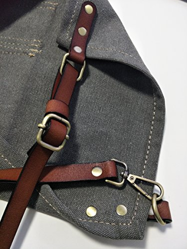 Heavy Duty Gray Waxed Canvas Work Apron With Pockets For Man (31 by 23.62inch) by Luchuan (Image #5)