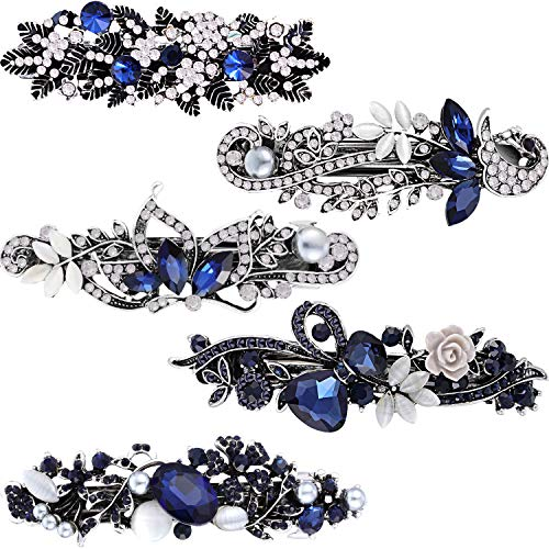 Blulu 5 Pieces Crystal Rhinestones Hair Barrettes Flower Butterfly French Clip Vintage Spring Hair Clips Bridal Hair Jewelry for Women Girls - Elegant Butterfly Rhinestones