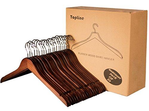 Hangers Wood Shirt - Topline Classic Wood Shirt Hangers - Mahogany Finish (20-Pack)