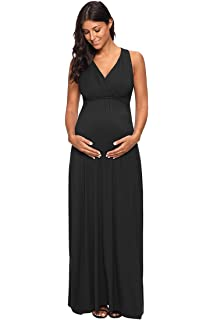b321d2ef10ed04 Jezero Women's Long Sleeve Ruched Maternity Maxi Photography Dress With  Adjustable Waistband