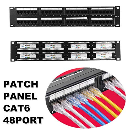 SMALL-CHIPINC - 2U 48 Port CAT6 Patch Panel IRJ45 Network Ethernet Rack Mount 19 Inch Rack Networking Network Hubs ()