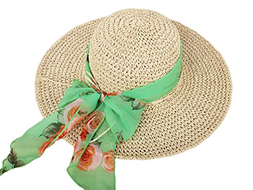 IL Caldo Womens Fascinatos Straw Hat Folding Handmade Crochet Cap Visor Tourism Hats,Beige