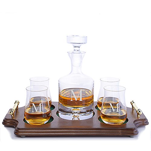 (Personalized Ravenscroft Lead-free Crystal Taylor Whiskey Liquor Decanter & 4 Single Malt Scotch Whisky Glasses & Walnut Serving Presentation Tray with Brass Handles Engraved &)