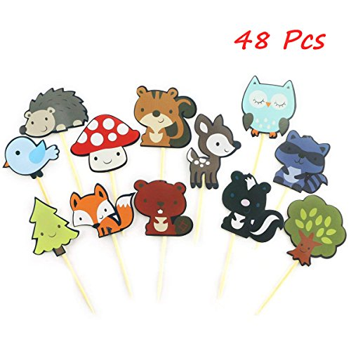 TKOnline 48Pcs Paper Woodland Creatures Theme Cupcake Toppers Forest Animals Cake Toppers Picks Kids Birthday Wedding Party Decoration, Food Fruit Picks for - Wood Toppers For Picks Cupcake