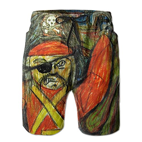 Beach Board Shorts Men Pants Swim Suit Trunks Sportswear Hot Style CKame Daub Painting One-eyed Pirate With A Hook Hand And A Skull Hat (Skull Pirate Hook Hand)