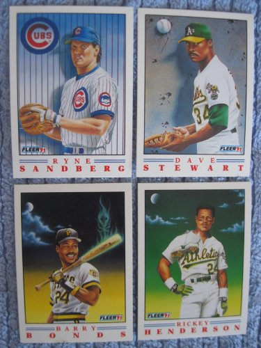 s Complete 4 Card Set - Barry Bonds, Ryne Sandberg, Dave Stewart, and Rickey Henderson Plus Bonus 8 Card 1990 World Series Highlights Set (Los Angeles Dodgers and Oakland Athletics) ()
