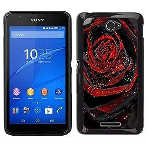 EJOY---Cubierta de la caja de protección para la piel dura ** Sony Xperia E4 ** --Negro Rose Dew Drop Spring Love
