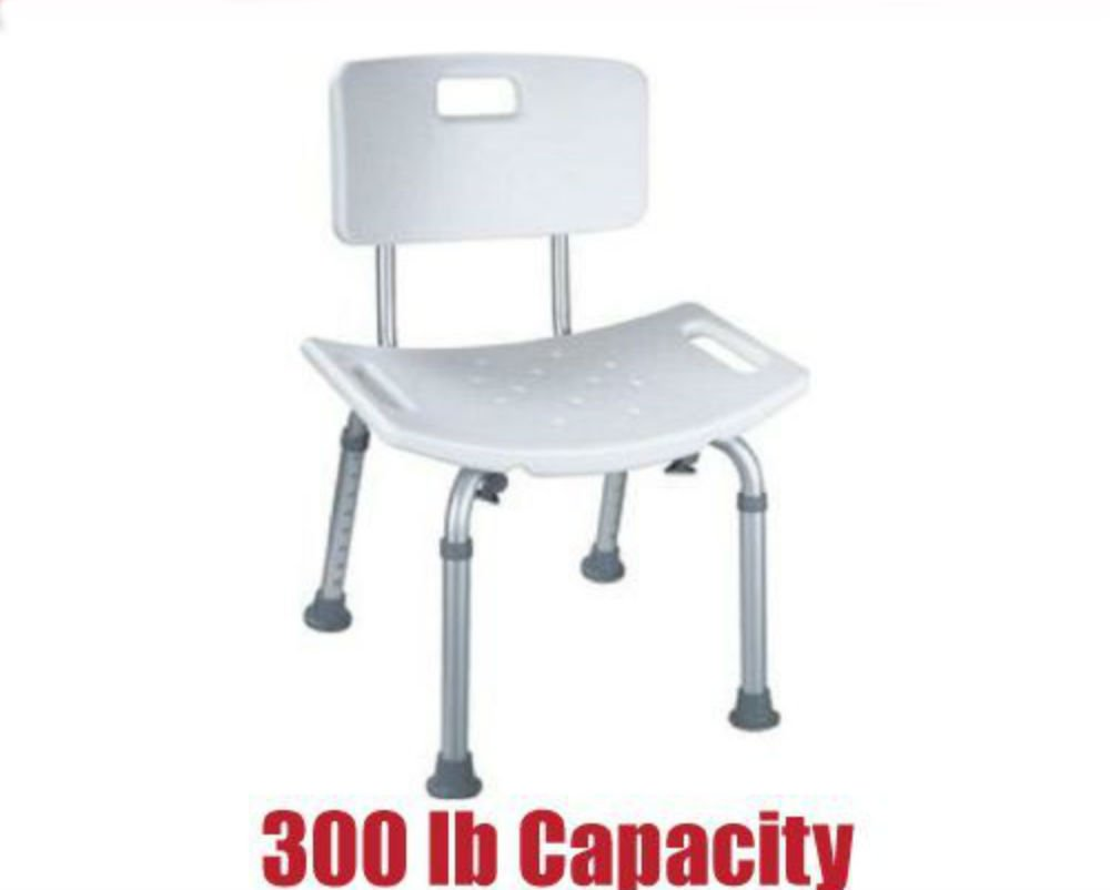300 lb. Elderly Bathtub Bath Tub Shower Seat Chair Bench Stool with Back Support