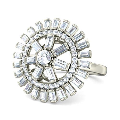 18K Or Blanc, 1.07carat rond et diamant sertie d '(IJ | SI) Cocktail en diamant
