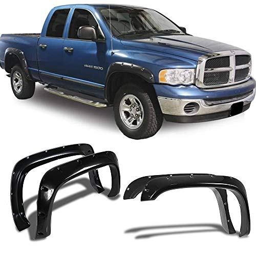 Fender Flares Fits 1994-2002 DODGE RAM 1500 2500 | Pocket-Riveted Style Smooth Black ABS Front Rear Right Left Wheel Cover Protector Vent by IKON MOTORSPORTS