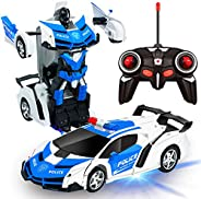 AMENON Remote Control Transform Car Robot Toy with Lights Deformation RC Car 2.4Ghz 1:18 Rechargeable 360°Rota